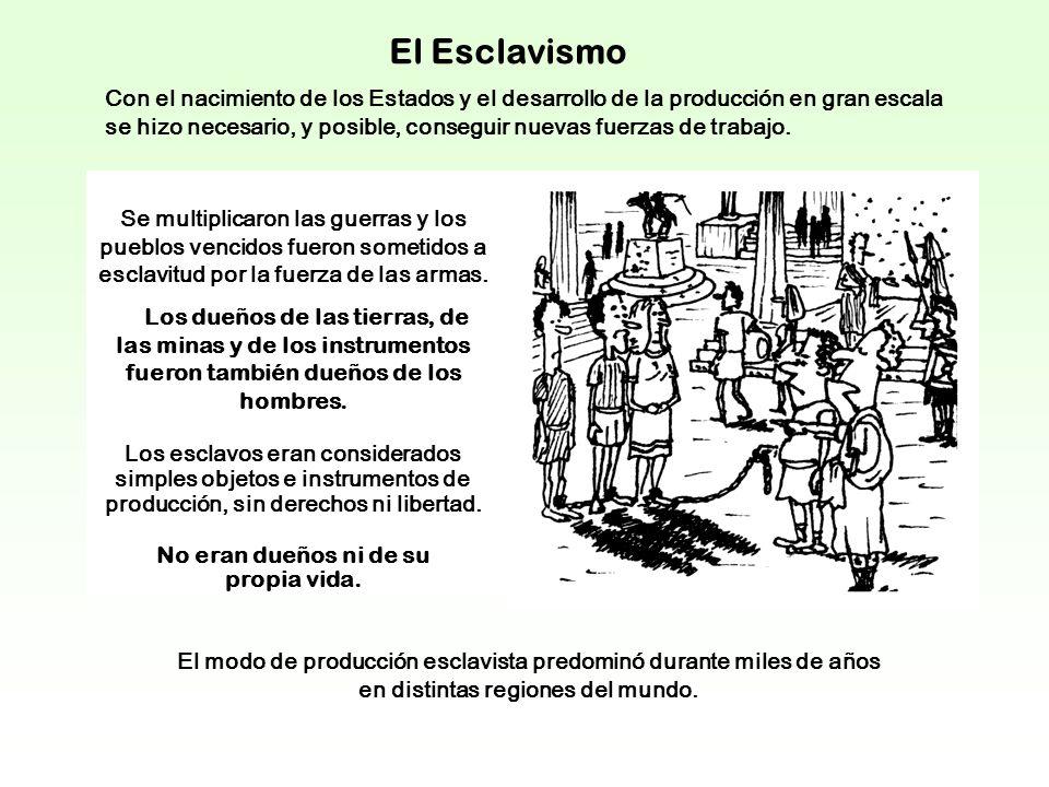 El Esclavismo Con el nacimiento de los Estados y el desarrollo de la producción en gran escala se hizo necesario, y posible, conseguir nuevas fuerzas de trabajo.