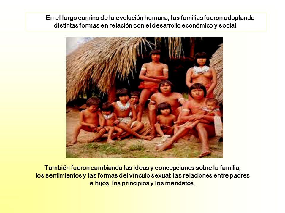 En el largo camino de la evolución humana, las familias fueron adoptando distintas formas en relación con el desarrollo económico y social. También fu