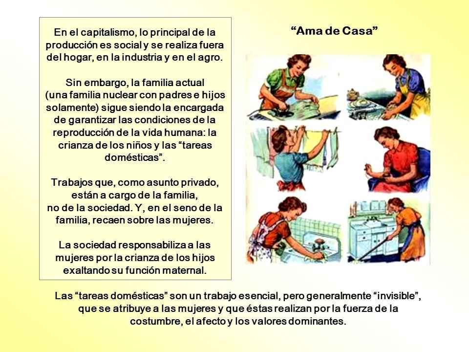 En el capitalismo, lo principal de la producción es social y se realiza fuera del hogar, en la industria y en el agro. Sin embargo, la familia actual