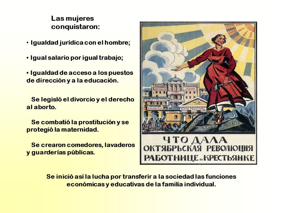 Igualdad jurídica con el hombre; Igual salario por igual trabajo; Igualdad de acceso a los puestos de dirección y a la educación. Se legisló el divorc