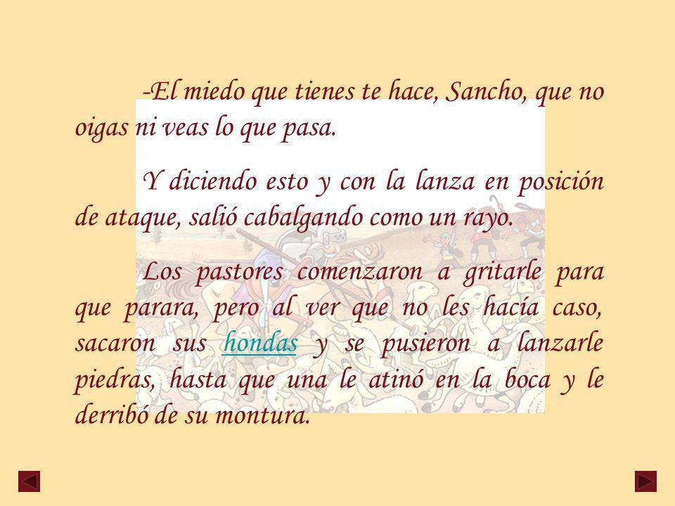 -El miedo que tienes te hace, Sancho, que no oigas ni veas lo que pasa.