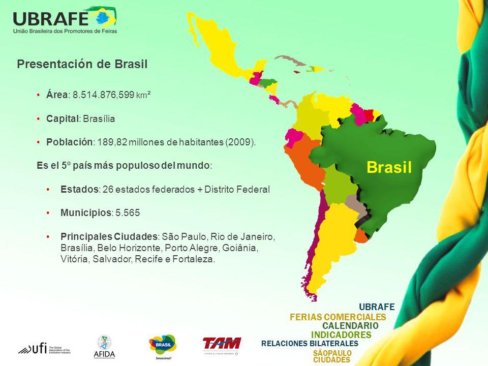 UBRAFE FERIAS COMERCIALES CALENDARIO INDICADORES RELACIONES BILATERALES SÃOPAULO CIUDADES Presentación de Brasil Área: 8.514.876,599 km ² Capital: Brasília Población: 189,82 millones de habitantes (2009).