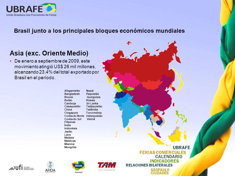 UBRAFE FERIAS COMERCIALES CALENDARIO INDICADORES RELACIONES BILATERALES SÃOPAULO CIUDADES Asia (exc.
