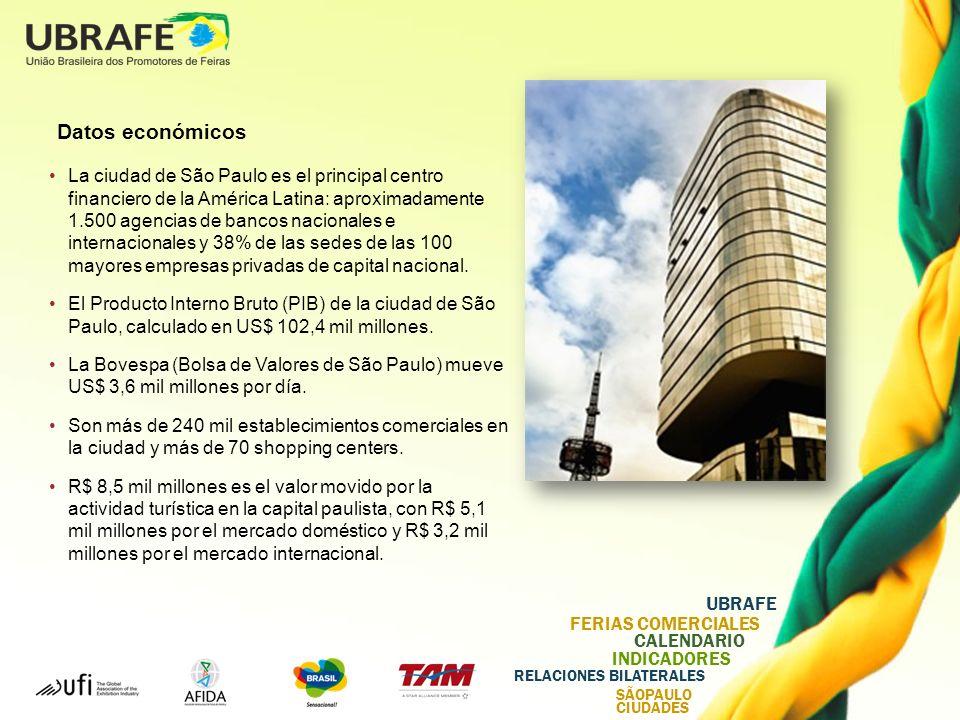UBRAFE FERIAS COMERCIALES CALENDARIO INDICADORES RELACIONES BILATERALES SÃOPAULO CIUDADES Datos económicos La ciudad de São Paulo es el principal centro financiero de la América Latina: aproximadamente 1.500 agencias de bancos nacionales e internacionales y 38% de las sedes de las 100 mayores empresas privadas de capital nacional.