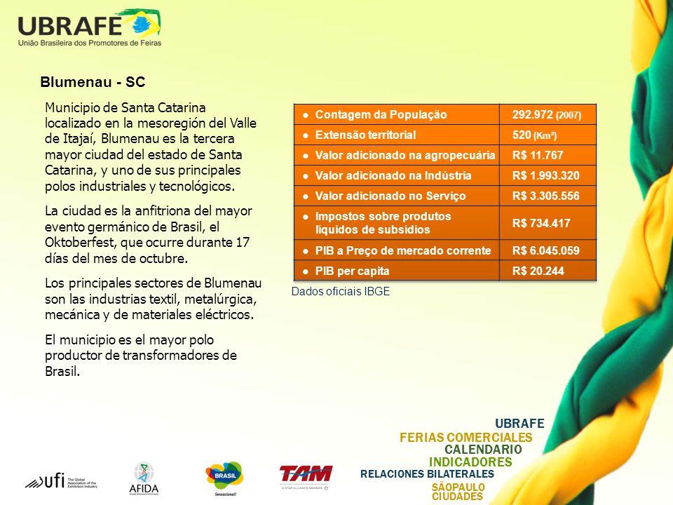 UBRAFE FERIAS COMERCIALES CALENDARIO INDICADORES RELACIONES BILATERALES SÃOPAULO CIUDADES Blumenau - SC Municipio de Santa Catarina localizado en la mesoregión del Valle de Itajaí, Blumenau es la tercera mayor ciudad del estado de Santa Catarina, y uno de sus principales polos industriales y tecnológicos.