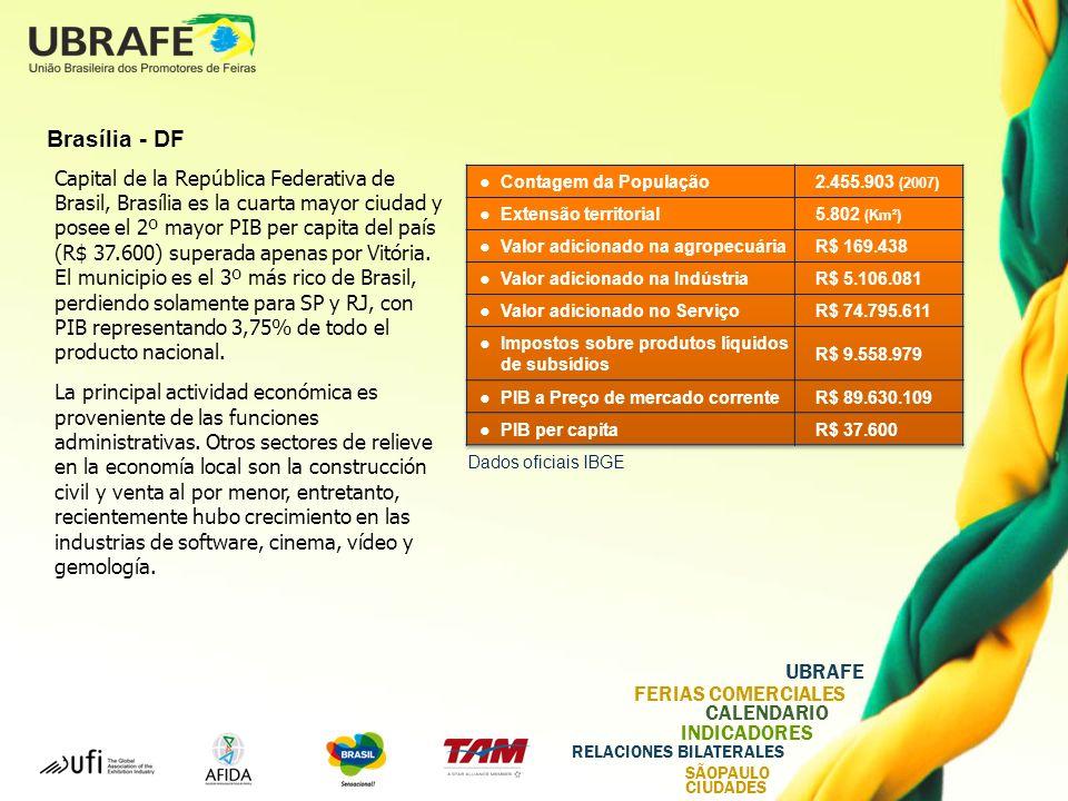 UBRAFE FERIAS COMERCIALES CALENDARIO INDICADORES RELACIONES BILATERALES SÃOPAULO CIUDADES Brasília - DF Capital de la República Federativa de Brasil, Brasília es la cuarta mayor ciudad y posee el 2º mayor PIB per capita del país (R$ 37.600) superada apenas por Vitória.