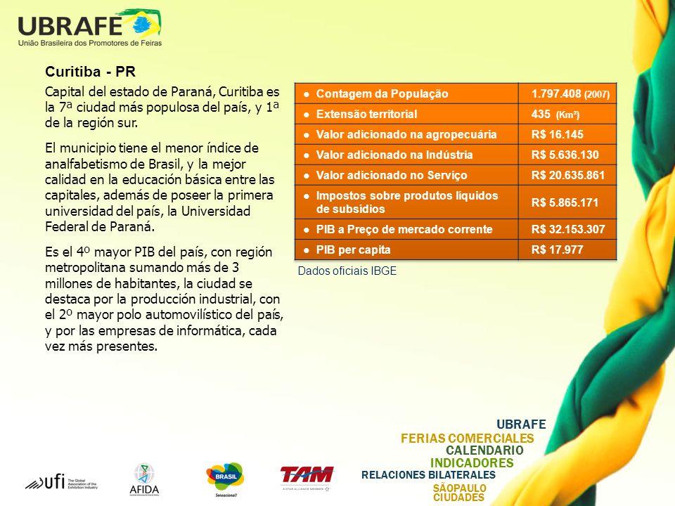 UBRAFE FERIAS COMERCIALES CALENDARIO INDICADORES RELACIONES BILATERALES SÃOPAULO CIUDADES Curitiba - PR Capital del estado de Paraná, Curitiba es la 7ª ciudad más populosa del país, y 1ª de la región sur.