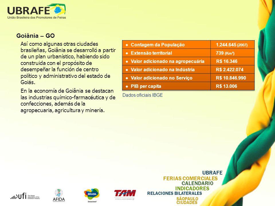 UBRAFE FERIAS COMERCIALES CALENDARIO INDICADORES RELACIONES BILATERALES SÃOPAULO CIUDADES Goiânia – GO Así como algunas otras ciudades brasileñas, Goiânia se desarrolló a partir de un plan urbanístico, habiendo sido construida con el propósito de desempeñar la función de centro político y administrativo del estado de Goiás.