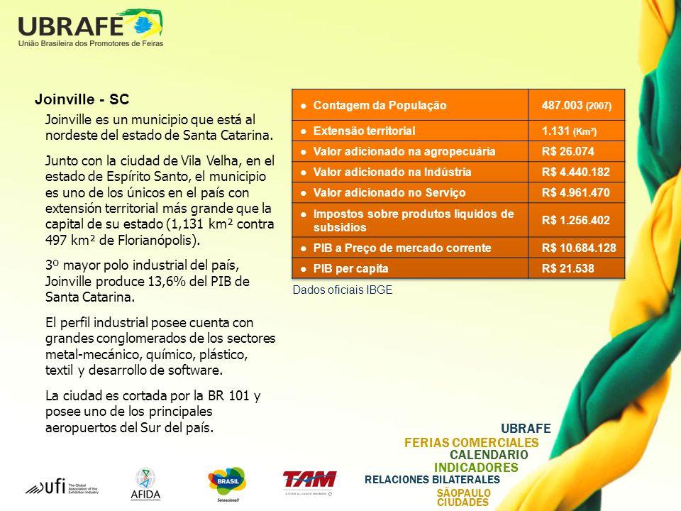 UBRAFE FERIAS COMERCIALES CALENDARIO INDICADORES RELACIONES BILATERALES SÃOPAULO CIUDADES Joinville - SC Joinville es un municipio que está al nordeste del estado de Santa Catarina.
