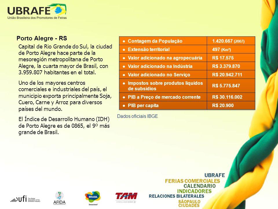 UBRAFE FERIAS COMERCIALES CALENDARIO INDICADORES RELACIONES BILATERALES SÃOPAULO CIUDADES Porto Alegre - RS Capital de Rio Grande do Sul, la ciudad de Porto Alegre hace parte de la mesoregión metropolitana de Porto Alegre, la cuarta mayor de Brasil, con 3.959.807 habitantes en el total.