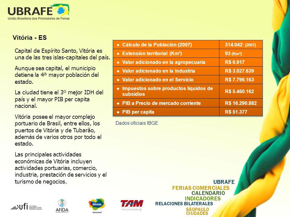 UBRAFE FERIAS COMERCIALES CALENDARIO INDICADORES RELACIONES BILATERALES SÃOPAULO CIUDADES Vitória - ES Capital de Espírito Santo, Vitória es una de las tres islas-capitales del país.