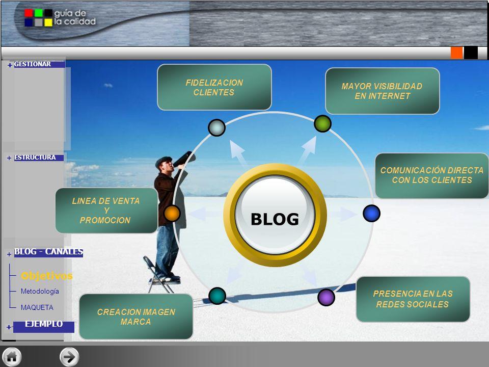 BLOG - CANALES Objetivos Metodología BLOG MAYOR VISIBILIDAD EN INTERNET COMUNICACIÓN DIRECTA CON LOS CLIENTES PRESENCIA EN LAS REDES SOCIALES CREACION
