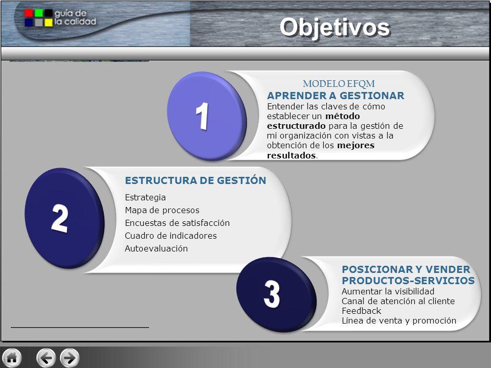 GESTIONAR ESTRUCTURA HERRAMIENTAS Presentación Modelo EFQM Principios Estructura ¿Qué hacemos.