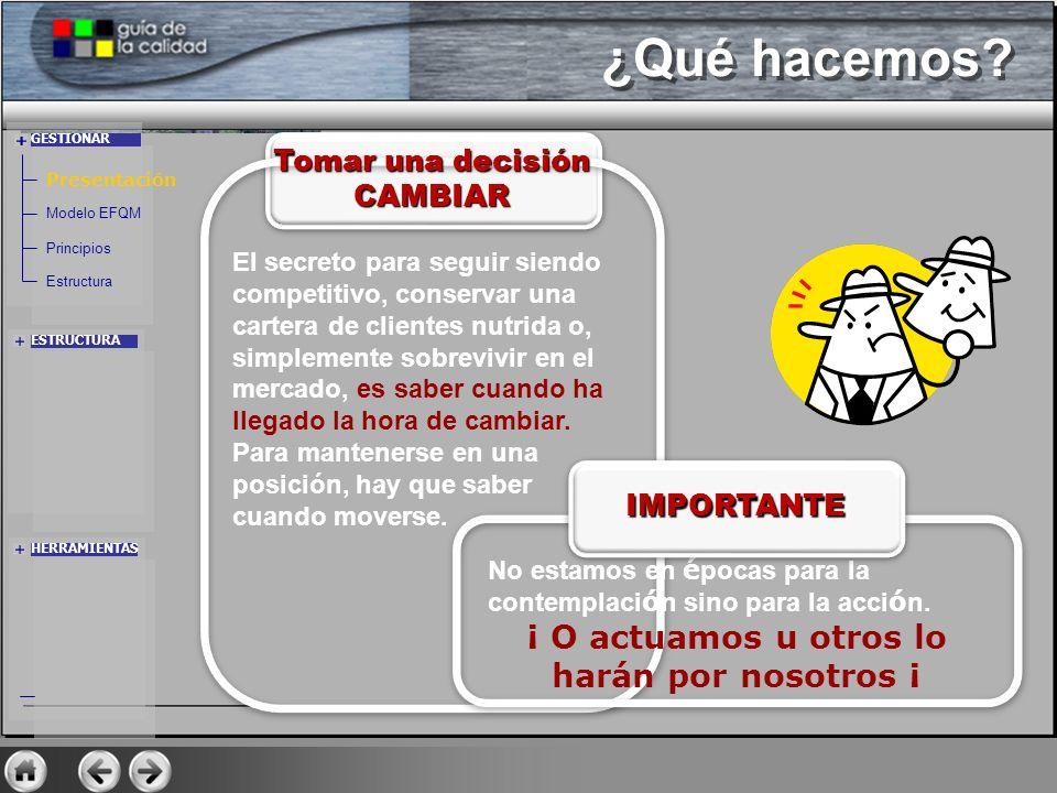GESTIONAR ESTRUCTURA HERRAMIENTAS Presentación Modelo EFQM Principios Estructura ¿Qué hacemos? Tomar una decisión CAMBIAR El secreto para seguir siend