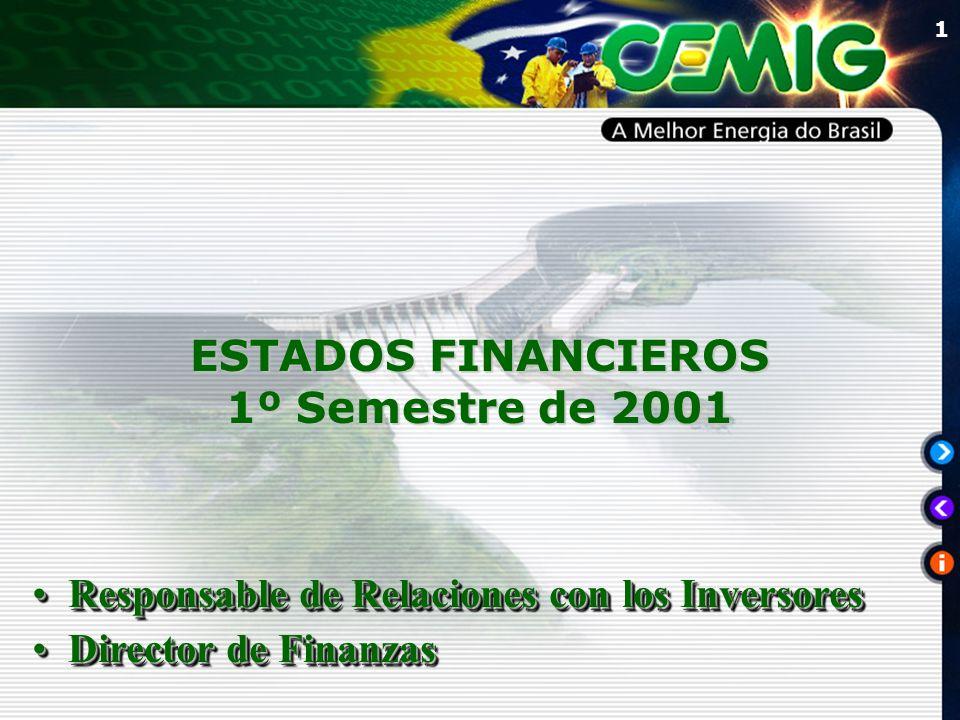 1 ESTADOS FINANCIEROS 1º Semestre de 2001 Responsable de Relaciones con los InversoresResponsable de Relaciones con los Inversores Director de FinanzasDirector de Finanzas Responsable de Relaciones con los InversoresResponsable de Relaciones con los Inversores Director de FinanzasDirector de Finanzas