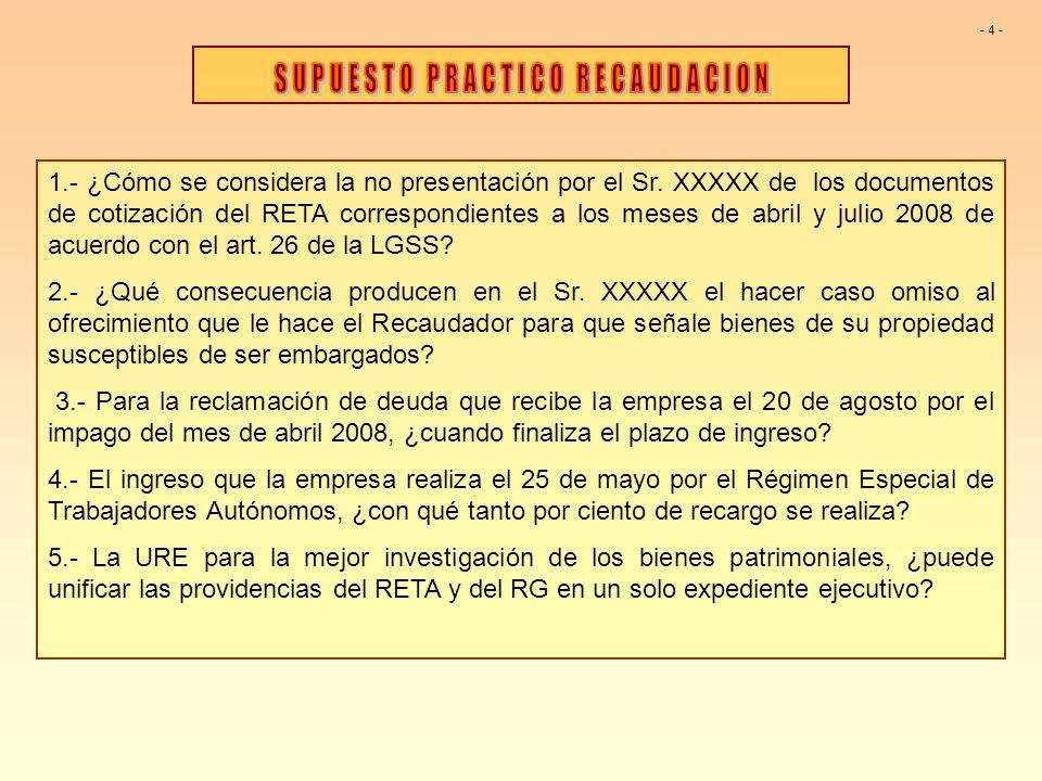 1.- ¿Cómo se considera la no presentación por el Sr. XXXXX de los documentos de cotización del RETA correspondientes a los meses de abril y julio 2008