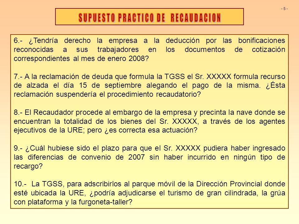 6.- ¿Tendría derecho la empresa a la deducción por las bonificaciones reconocidas a sus trabajadores en los documentos de cotización correspondientes al mes de enero 2008.