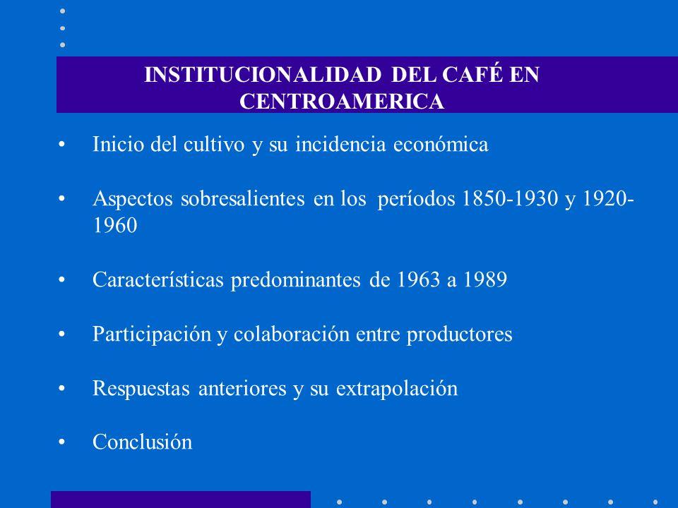 Inicio del cultivo y su incidencia económica Aspectos sobresalientes en los períodos 1850-1930 y 1920- 1960 Características predominantes de 1963 a 19