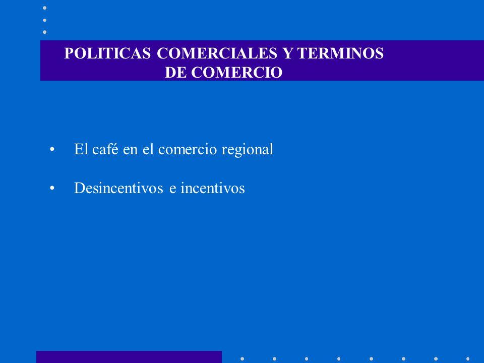 El café en el comercio regional Desincentivos e incentivos POLITICAS COMERCIALES Y TERMINOS DE COMERCIO