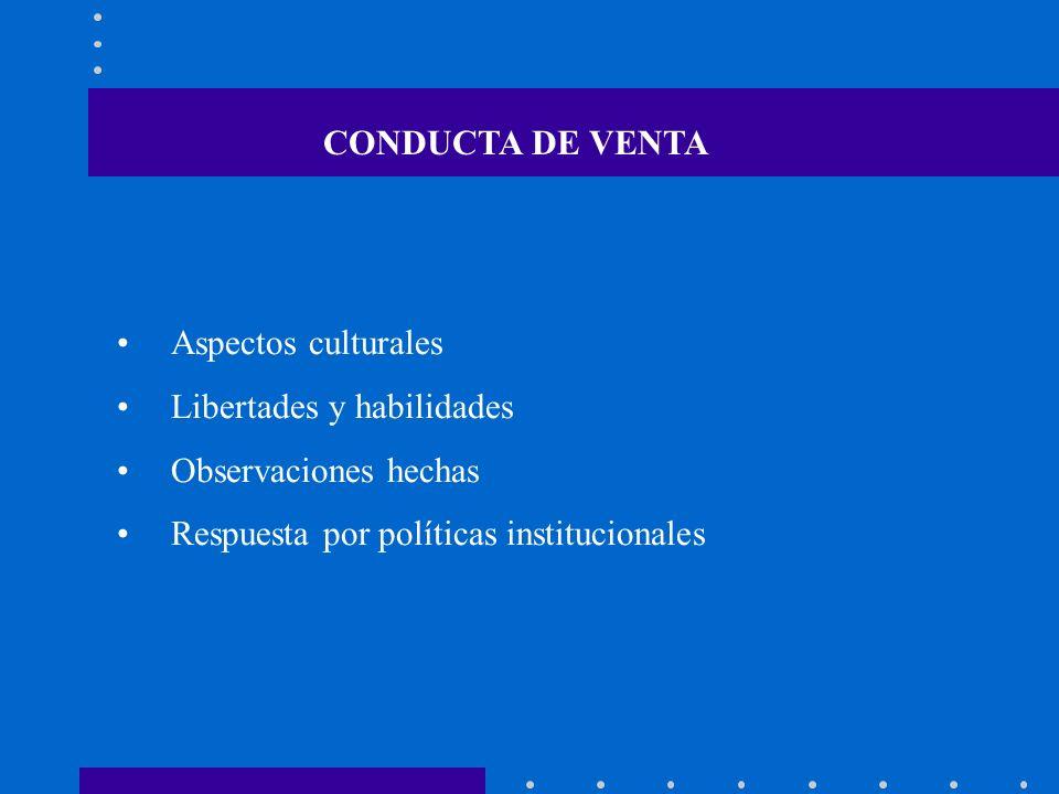 Aspectos culturales Libertades y habilidades Observaciones hechas Respuesta por políticas institucionales CONDUCTA DE VENTA