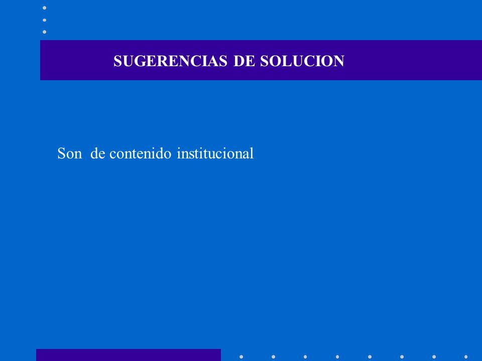 Son de contenido institucional SUGERENCIAS DE SOLUCION