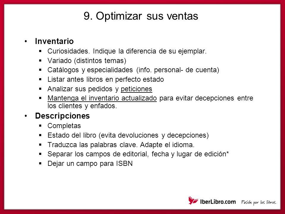 9.Optimizar sus ventas Inventario Curiosidades. Indique la diferencia de su ejemplar.