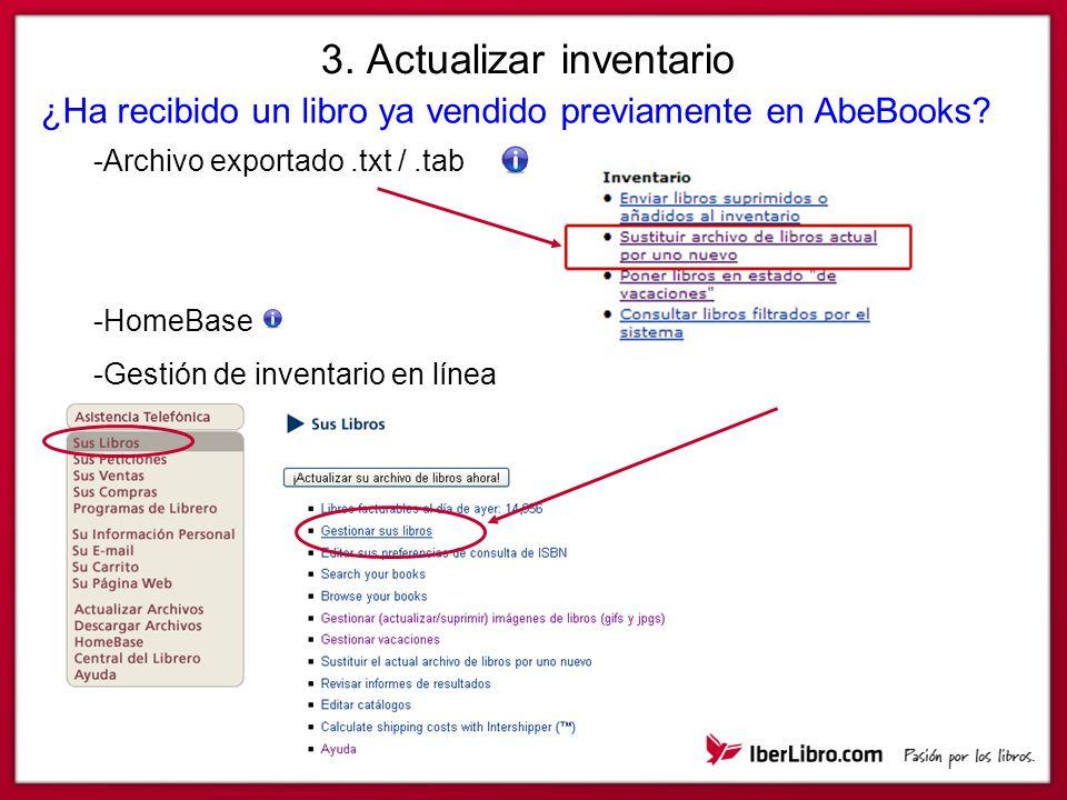 3. Actualizar inventario ¿Ha recibido un libro ya vendido previamente en AbeBooks.