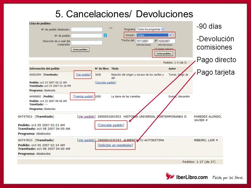 5. Cancelaciones/ Devoluciones -90 días -Devolución comisiones Pago directo Pago tarjeta
