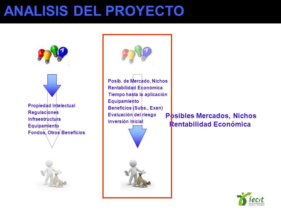 Posibles Mercados, Nichos Rentabilidad Económica ANALISIS DEL PROYECTO Propiedad Intelectual Regulaciones Infraestructura Equipamiento Fondos, Otros Beneficios Posib.
