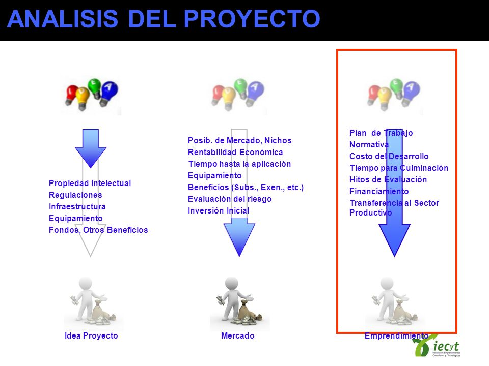 ANALISIS DEL PROYECTO Propiedad Intelectual Regulaciones Infraestructura Equipamiento Fondos, Otros Beneficios Posib. de Mercado, Nichos Rentabilidad