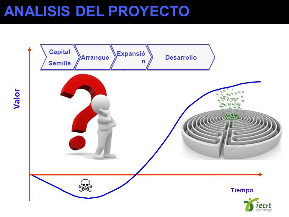 Tiempo Valor Capital Semilla Capital Semilla Arranque Expansió n Desarrollo ANALISIS DEL PROYECTO
