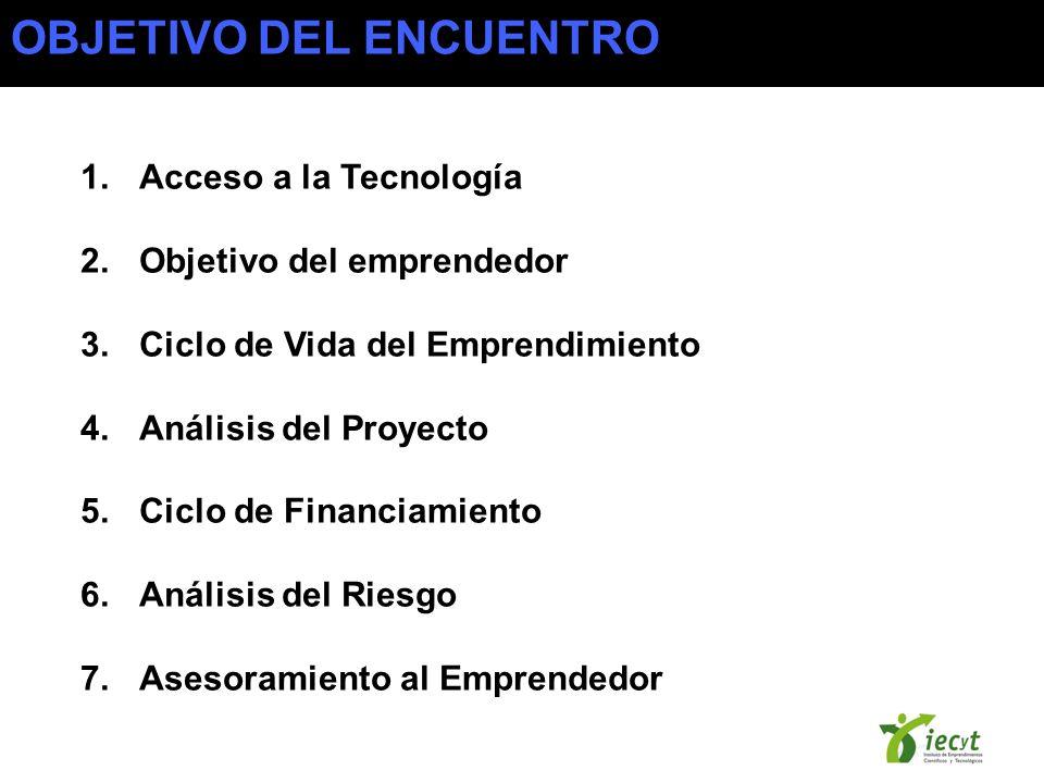 1.Acceso a la Tecnología 2.Objetivo del emprendedor 3.Ciclo de Vida del Emprendimiento 4.Análisis del Proyecto 5.Ciclo de Financiamiento 6.Análisis del Riesgo 7.Asesoramiento al Emprendedor OBJETIVO DEL ENCUENTRO