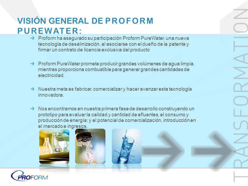 Proform ha asegurado su participación Proform PureWater, una nueva tecnología de desalinización, al asociarse con el dueño de la patente y firmar un c
