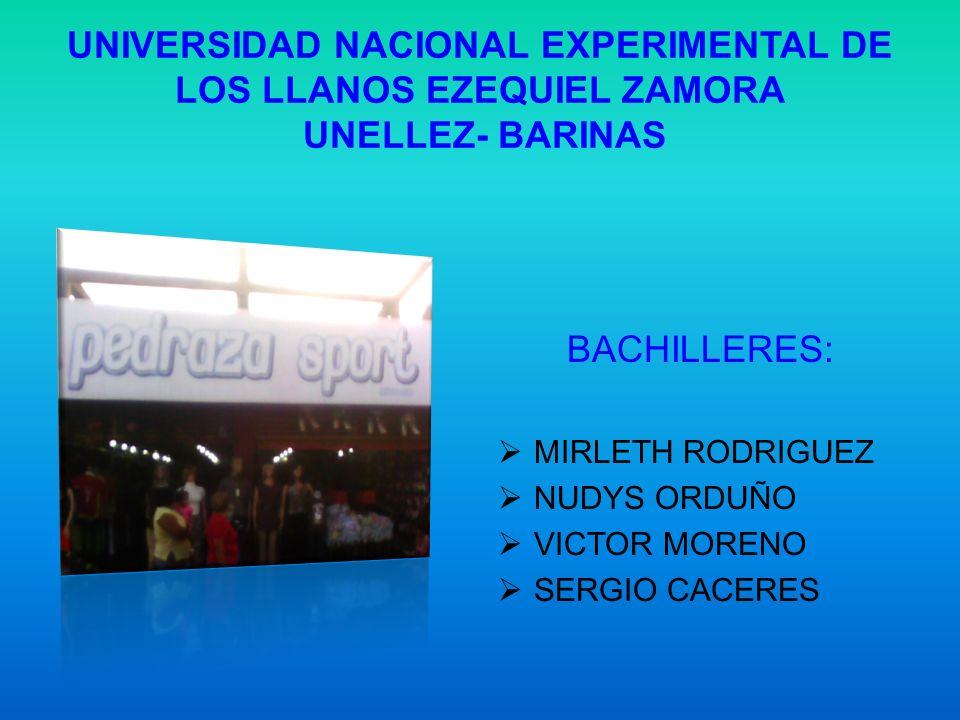 UNIVERSIDAD NACIONAL EXPERIMENTAL DE LOS LLANOS EZEQUIEL ZAMORA UNELLEZ- BARINAS BACHILLERES: MIRLETH RODRIGUEZ NUDYS ORDUÑO VICTOR MORENO SERGIO CACE
