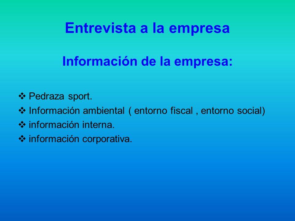 Entrevista a la empresa Información de la empresa: Pedraza sport. Información ambiental ( entorno fiscal, entorno social) información interna. informa