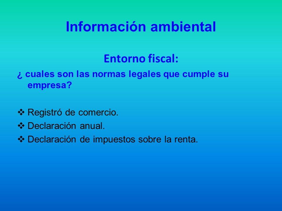 Información ambiental Entorno fiscal: ¿ cuales son las normas legales que cumple su empresa? Registró de comercio. Declaración anual. Declaración de i
