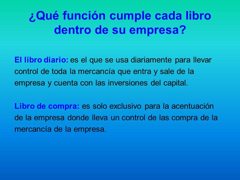 ¿Qué función cumple cada libro dentro de su empresa? El libro diario: es el que se usa diariamente para llevar control de toda la mercancía que entra