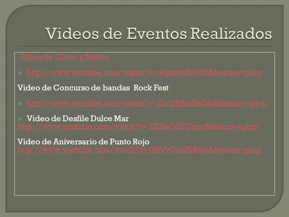 Video de Chino y Nacho http://www.youtube.com/watch?v=4qez4wfMvrU&feature=plcp Video de Concurso de bandas Rock Fest http://www.youtube.com/watch?v=DuQKEmNsGIs&feature=plcp Video de Desfile Dulce Mar http://www.youtube.com/watch?v=YEHeOEFCugc&feature=plcp Video de Aniversario de Punto Rojo http://www.youtube.com/watch?v=QBVvOuQNBwk&feature=plcp