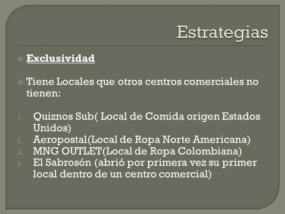 Exclusividad Tiene Locales que otros centros comerciales no tienen: 1.
