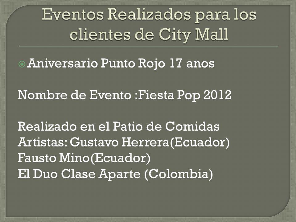 Aniversario Punto Rojo 17 anos Nombre de Evento :Fiesta Pop 2012 Realizado en el Patio de Comidas Artistas: Gustavo Herrera(Ecuador) Fausto Mino(Ecuador) El Duo Clase Aparte (Colombia)