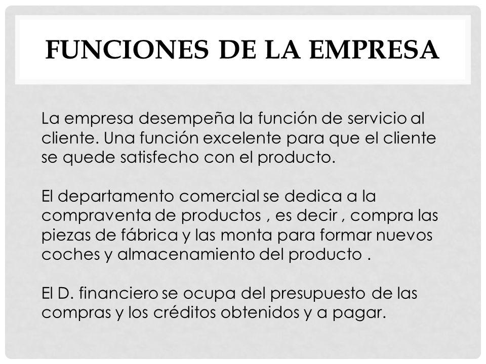 FUNCIONES DE LA EMPRESA La empresa desempeña la función de servicio al cliente.