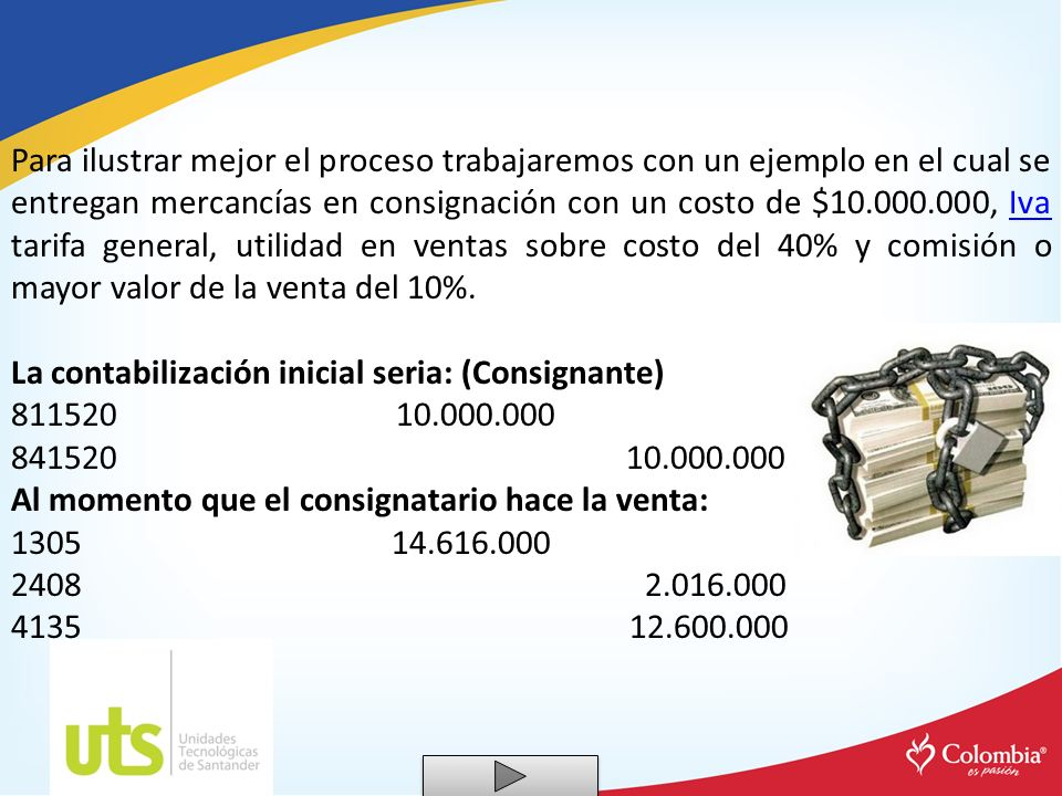 Para ilustrar mejor el proceso trabajaremos con un ejemplo en el cual se entregan mercancías en consignación con un costo de $10.000.000, Iva tarifa g