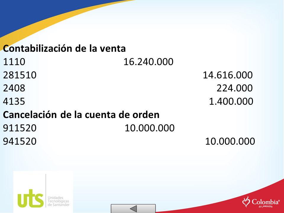 Contabilización de la venta 1110 16.240.000 281510 14.616.000 2408 224.000 4135 1.400.000 Cancelación de la cuenta de orden 911520 10.000.000 941520 1