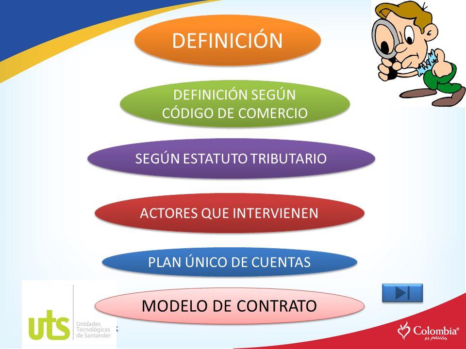DEFINICIÓN DEFINICIÓN SEGÚN CÓDIGO DE COMERCIO DEFINICIÓN SEGÚN CÓDIGO DE COMERCIO ACTORES QUE INTERVIENEN SEGÚN ESTATUTO TRIBUTARIO PLAN ÚNICO DE CUE