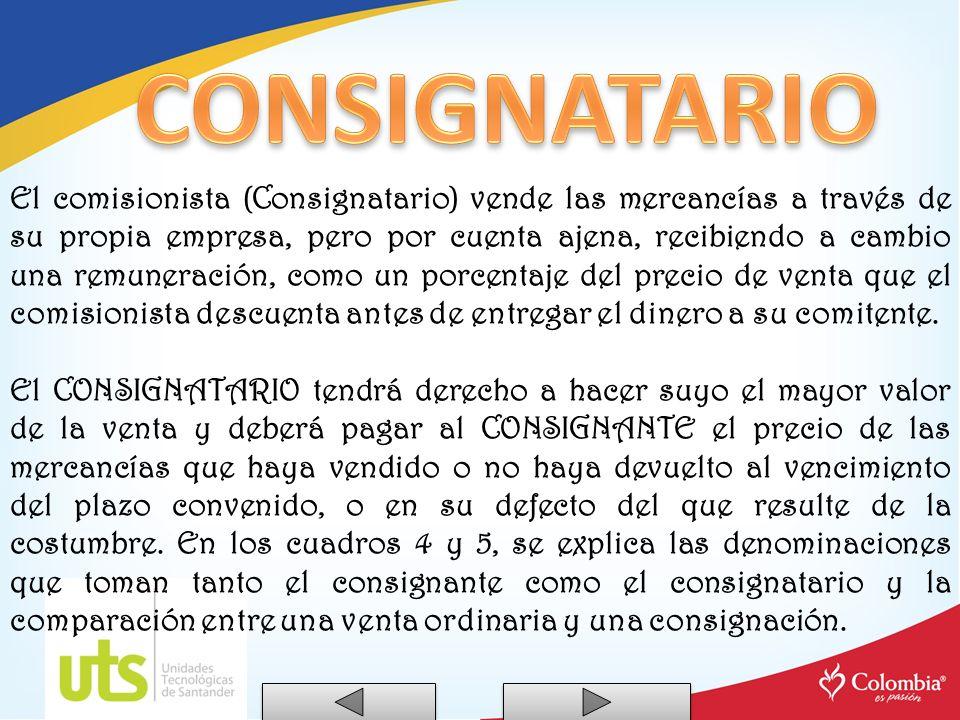 Denominaciones: COMISIONISTA - CONSIGNACION RECIBIDA - (CONSIGNACIÓN) - MERCANCIAS RECIBIDAS EN CONSIGNACION.