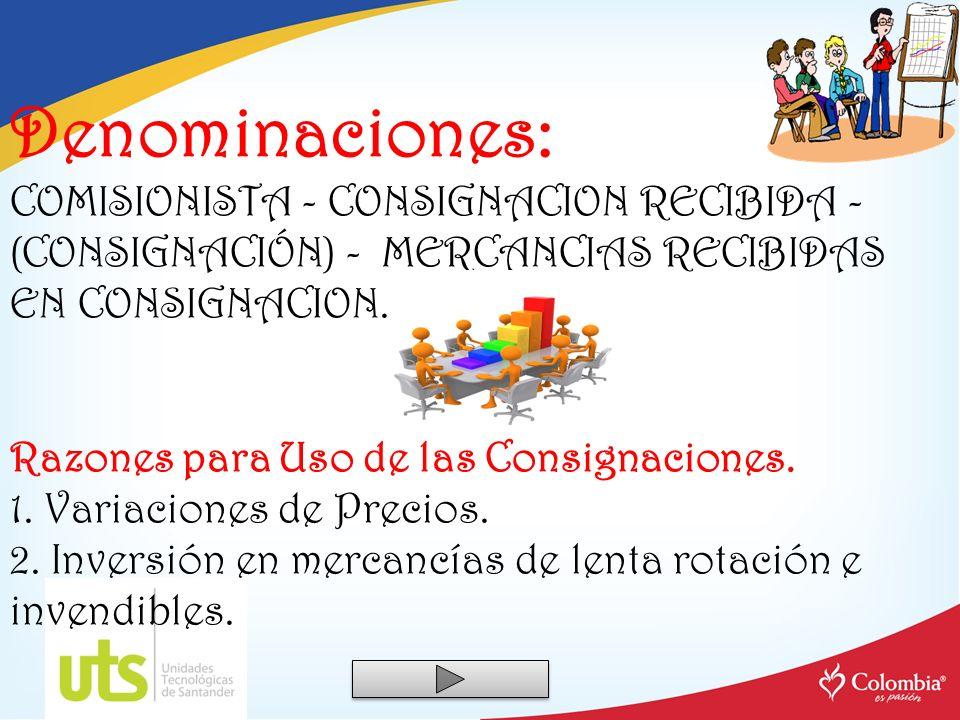Denominaciones: COMISIONISTA - CONSIGNACION RECIBIDA - (CONSIGNACIÓN) - MERCANCIAS RECIBIDAS EN CONSIGNACION. Razones para Uso de las Consignaciones.