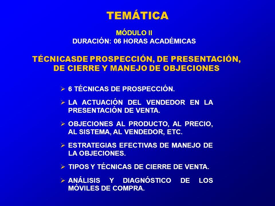 TEMÁTICA 6 TÉCNICAS DE PROSPECCIÓN.LA ACTUACIÓN DEL VENDEDOR EN LA PRESENTACIÓN DE VENTA.