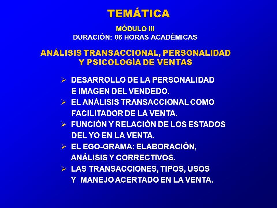 TEMÁTICA MÓDULO III DURACIÓN: 06 HORAS ACADÉMICAS ANÁLISIS TRANSACCIONAL, PERSONALIDAD Y PSICOLOGÍA DE VENTAS DESARROLLO DE LA PERSONALIDAD E IMAGEN DEL VENDEDO.