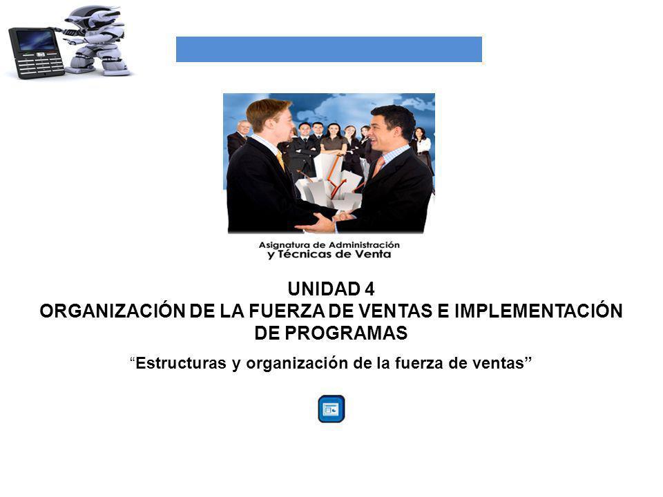UNIDAD 4 ORGANIZACIÓN DE LA FUERZA DE VENTAS E IMPLEMENTACIÓN DE PROGRAMAS Estructuras y organización de la fuerza de ventas