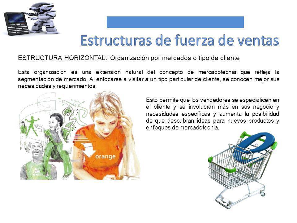 ESTRUCTURA HORIZONTAL: Organización por mercados o tipo de cliente Esta organización es una extensión natural del concepto de mercadotecnia que reflej